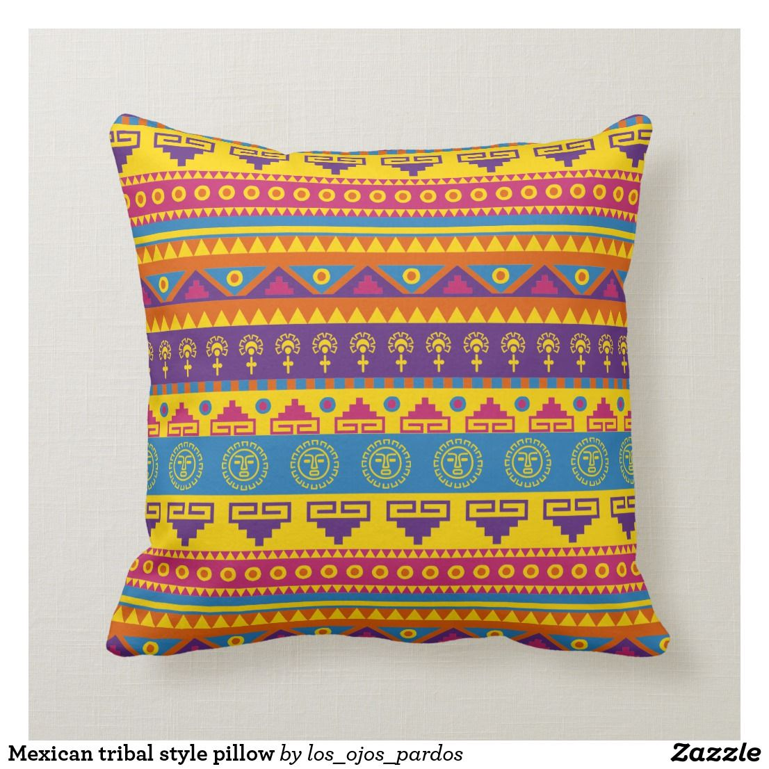 Mexican tribal style pillow | Zazzle