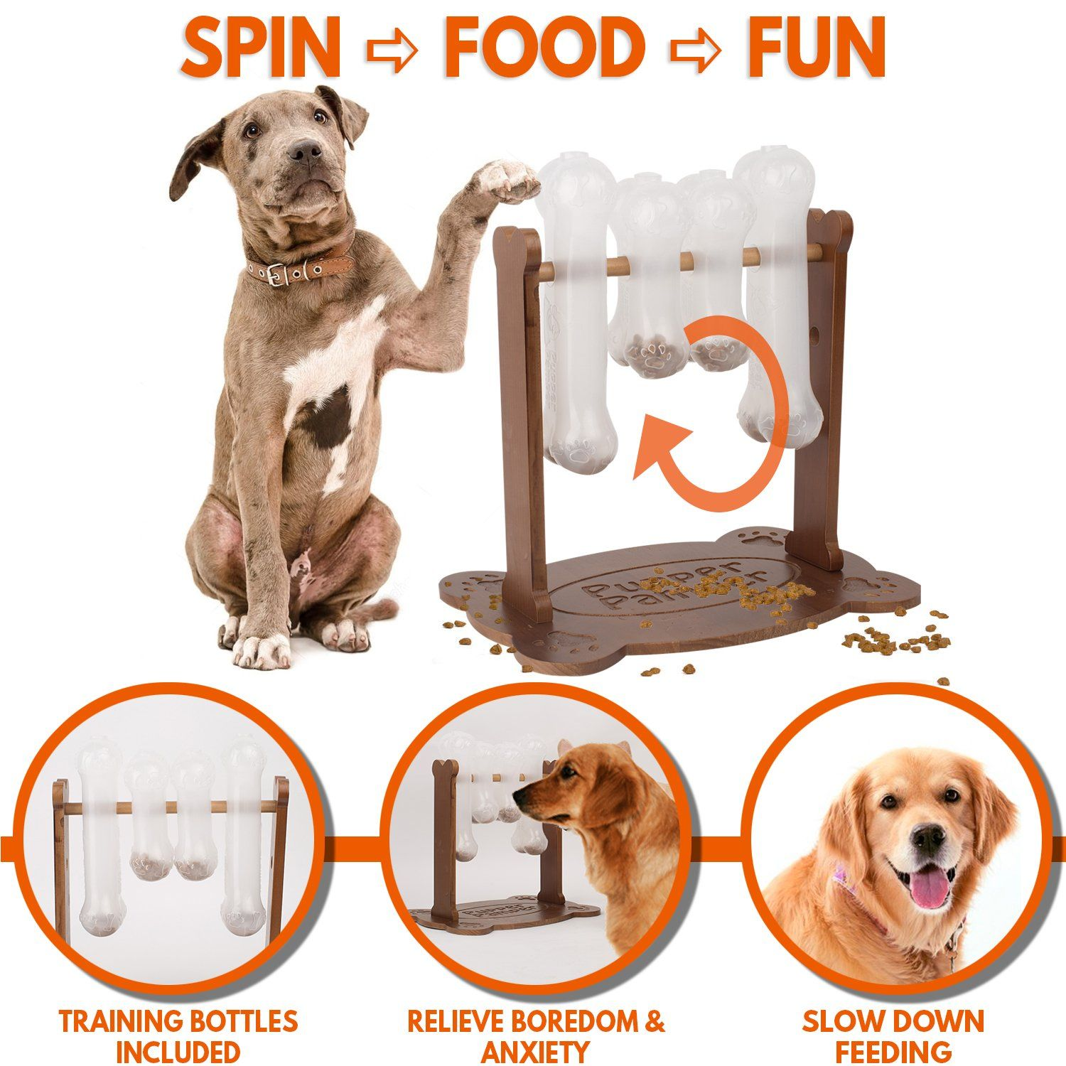 Interactive Dog Food Puzzle Toy Treat Dispensing Dogs Slow Feeder