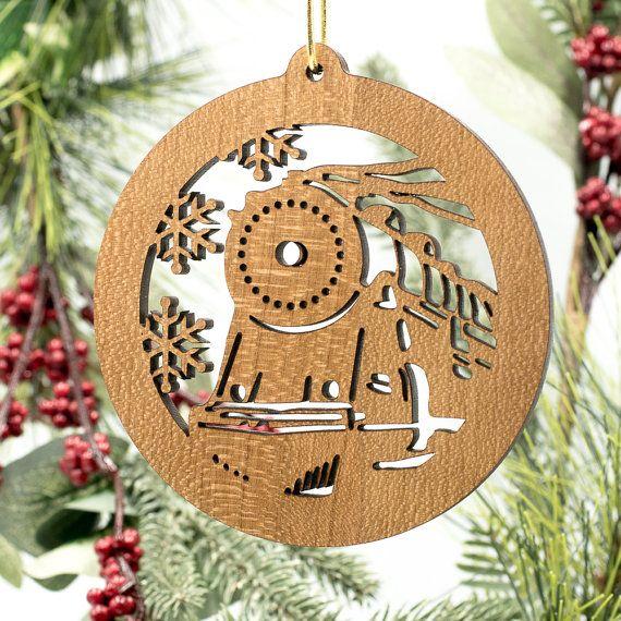 train christmas ornament locomotive filigree engraved cherry wood tree decoration choo choo train wooden ornament laser cut train