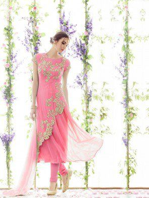 Light Pink Georgette Designer Suit with Embroidery Work