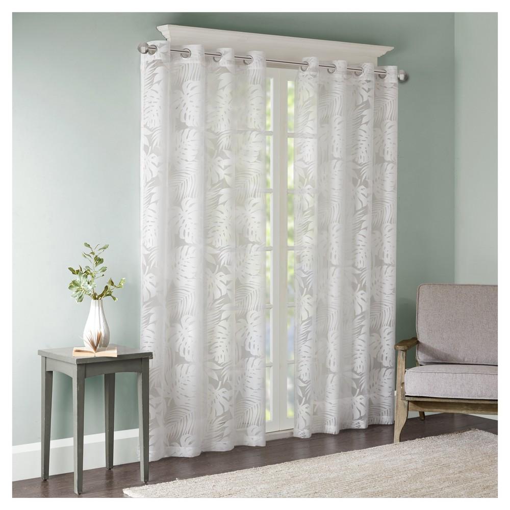 "Maui Palm Leaf Burnout Window Sheer White (50""x95"