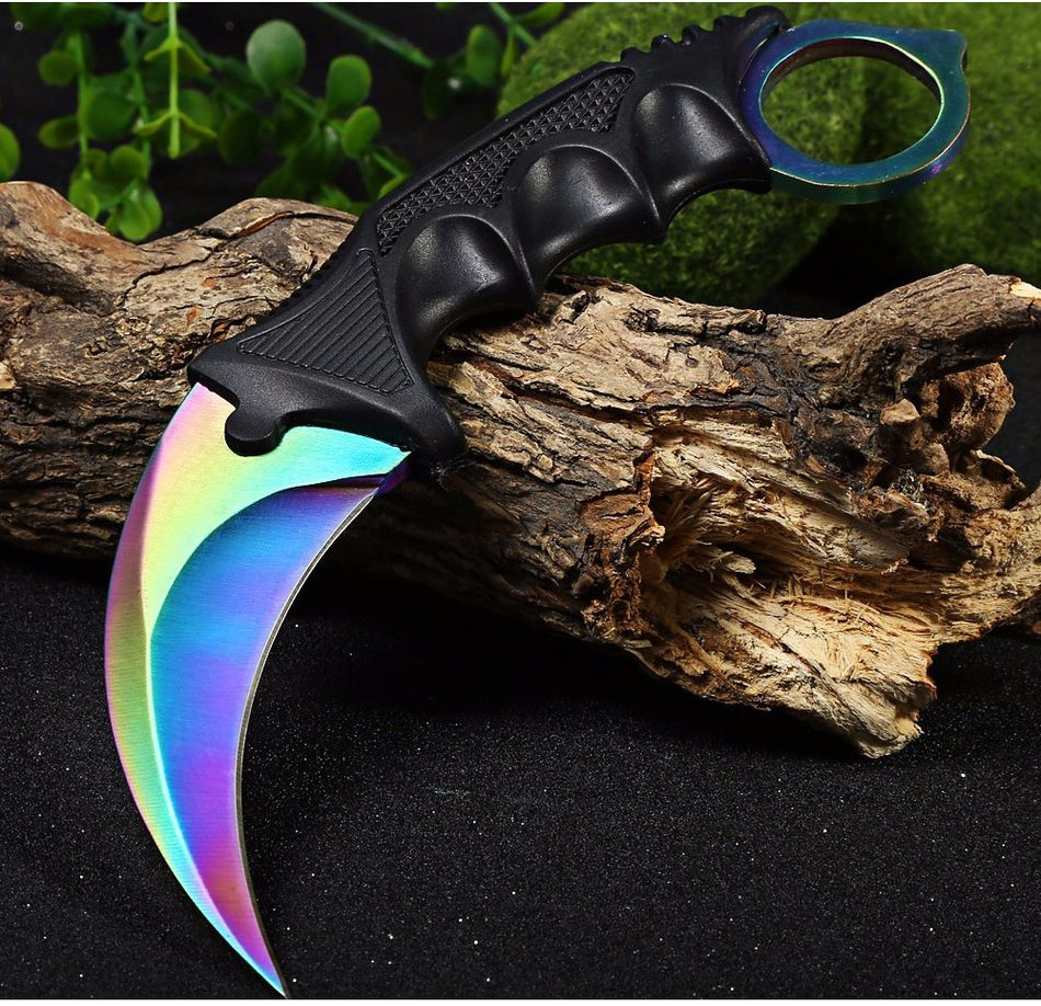 CSGO counter strike hawkbill tattico artiglio karambit neck knife reale combattimento lotta camp escursione all'aperto autodifesa offensiva
