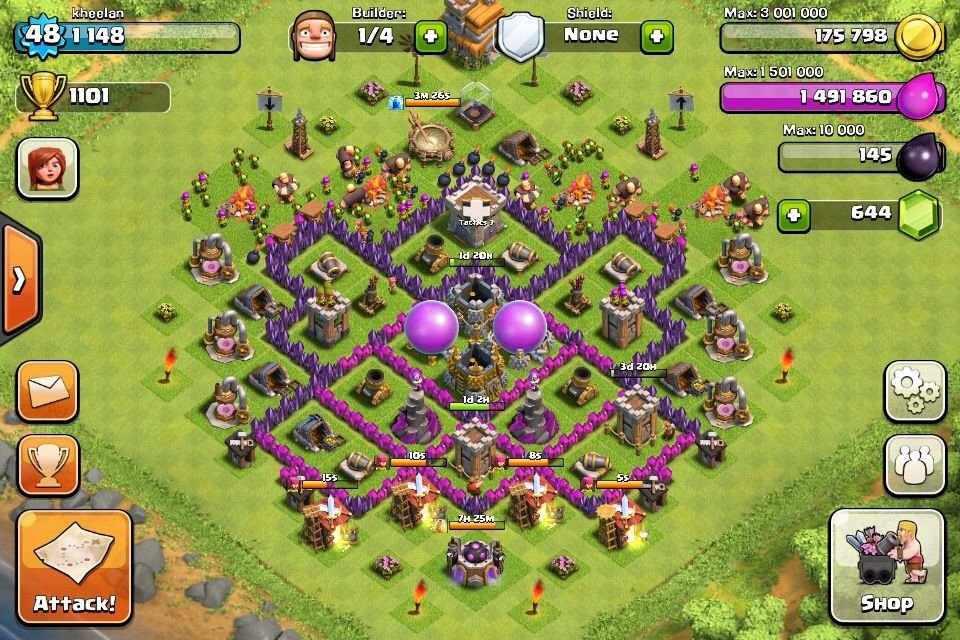 Clash Of Clans Level 7 Town Hall Setup Clash Of Clans Clash Of Clans Levels Clan