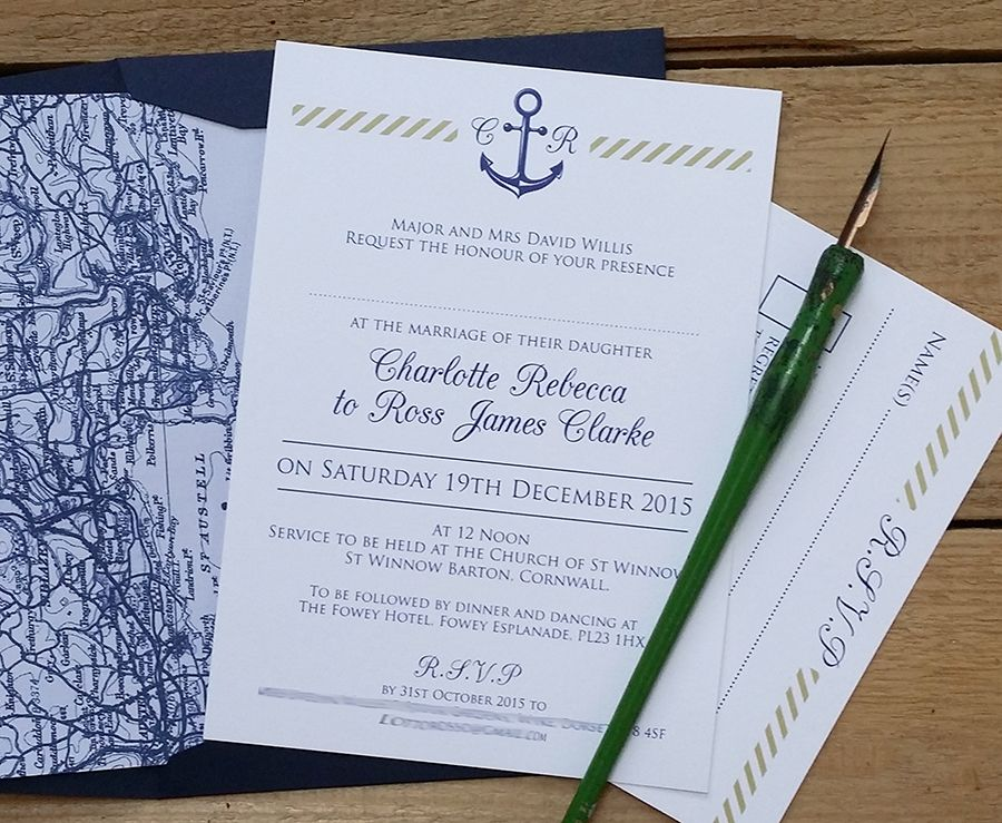 handwrite or print wedding invitation envelopes%0A A bespoke version of my Nautical range of wedding stationery in Navy  u     Gold  with a