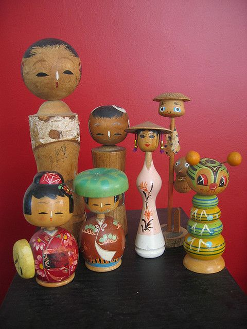Old kokeshi dolls I have a few like the 2 in the back left :)