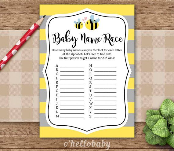 Baby Name Race Shower Game Yellow Bumble Bee By Ohellobaby