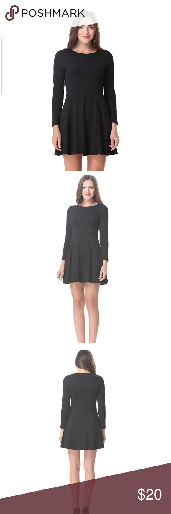 Crew Neck Long Sleeve Fit And Flare Dress Casual Dress Outfits Flare Dress Fit And Flare Dress [ 1740 x 580 Pixel ]