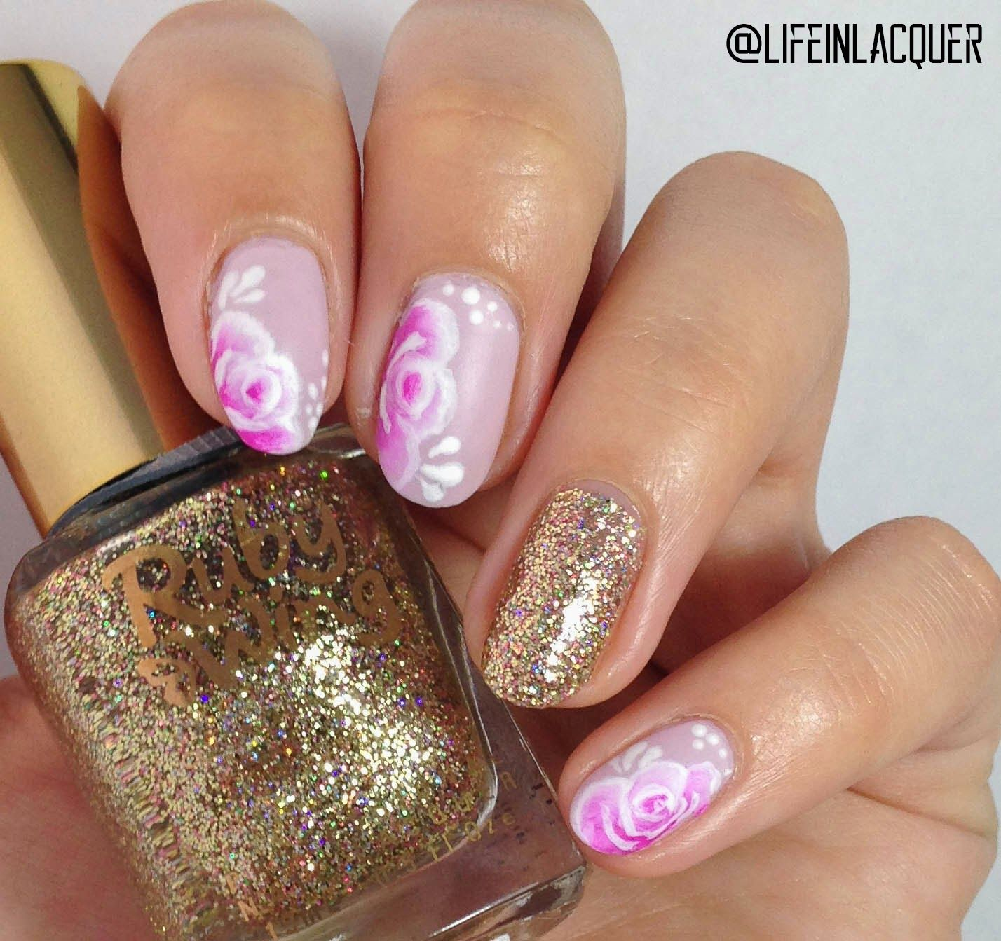 Life in Lacquer one stroke rose glitter nail art design