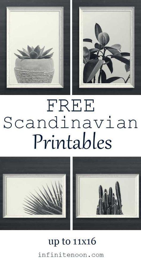 Free Scandinavian Minimal Plant Printables Wall Art Black And White Modern Style 5 Art Prints Are Gallery Wall Printables Free Wall Printables Free Wall Art