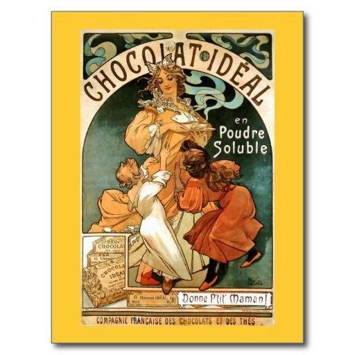 Alphonse Alfons Mucha Chocolat Ideal Postcard Zazzle Com Art