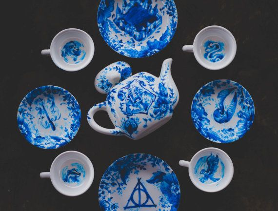 HARRY POTTER Tea Set Petite Size Hand Painted by MarsupialPudding --- I need this & HARRY POTTER Tea Set Petite Size Hand Painted by MarsupialPudding ...