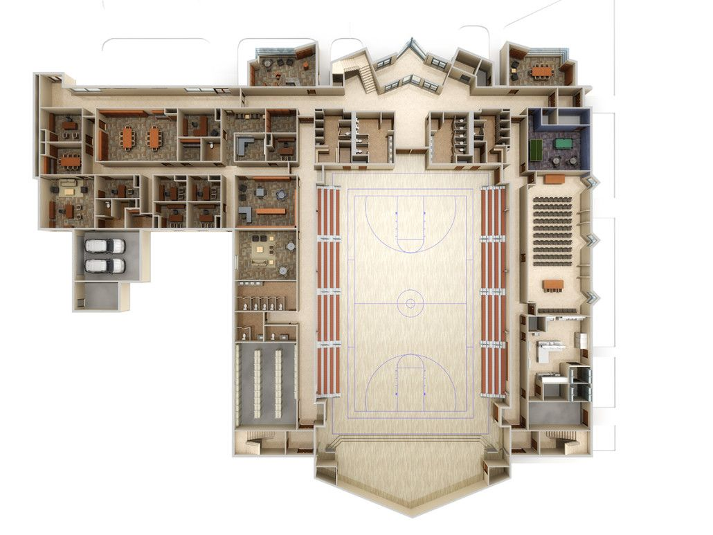 Church Facility First Floor Plan 3d Roof Off Rendering