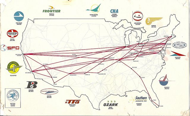 TWA Route Map ~ 1964 | Airlines... once upon a time | Flight map ...
