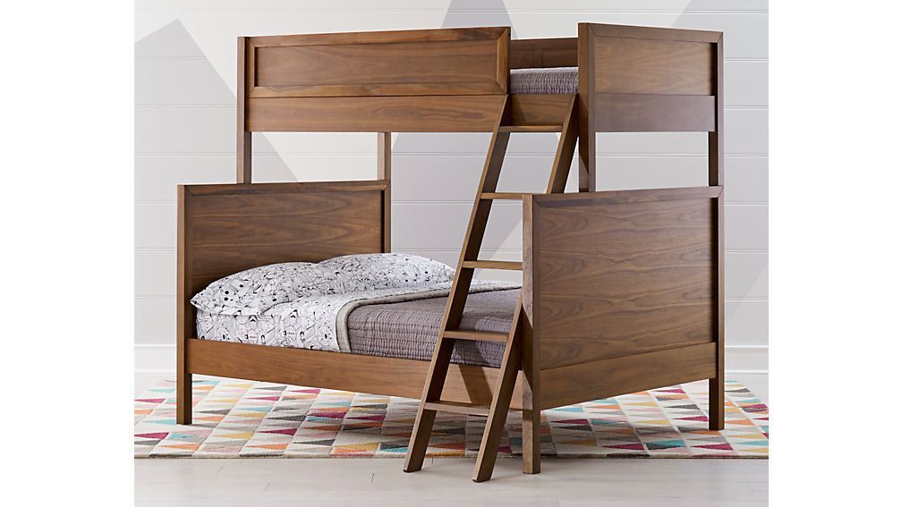 Taylor Twin Over Full Walnut Bunk Bed Crate And Barrel Bunk Beds Bunk Bed Designs Cool Bunk Beds