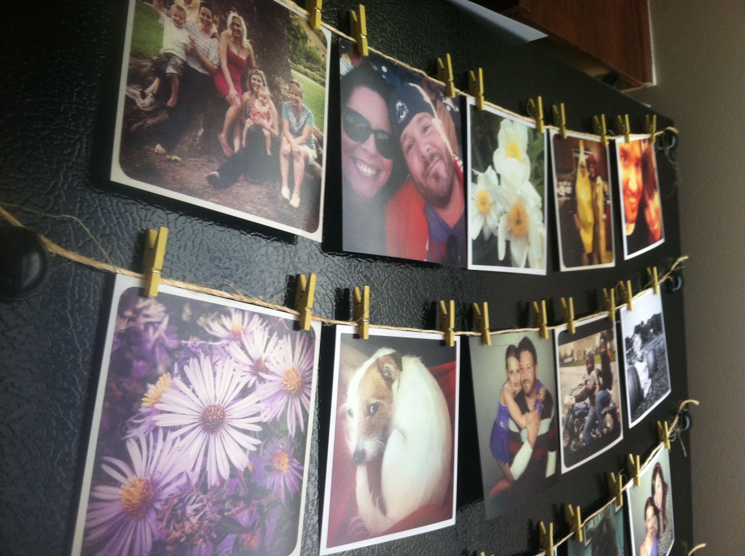 Way to use those instagram photos 4x4 prints at walgreens twine magnets miniature clothespins easy and beautiful