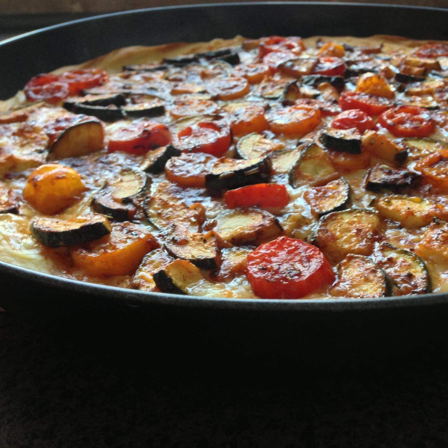 mediterrane tomate zucchini quiche rezept thermomix. Black Bedroom Furniture Sets. Home Design Ideas