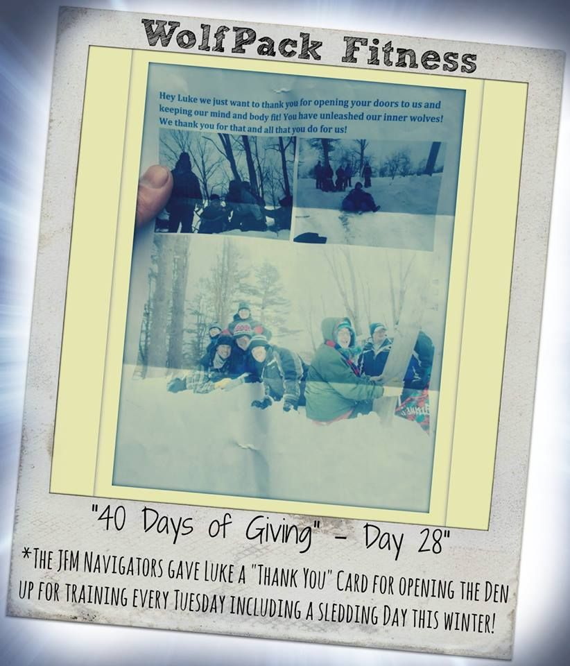 "The JFM Navigators gave Luke a ""thank you"" card for opening The Den for their training every week!  #40daysofgiving"