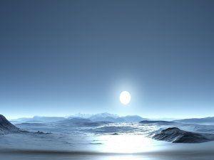 Gran luna y las olas del mar