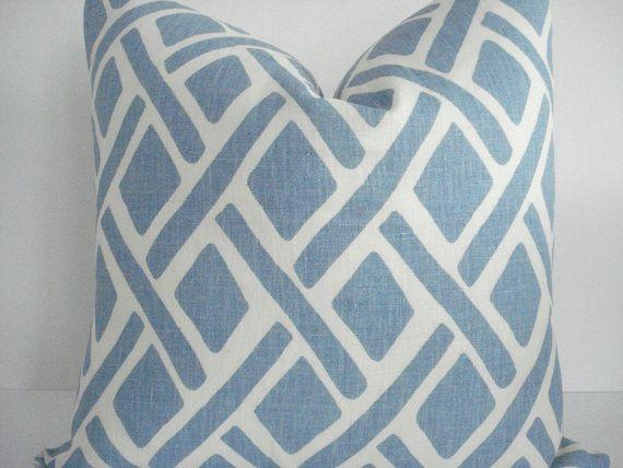 Kravet Linen Treads River Colorway Decorative Designer Pillow Light Blue Ivory Geometric Designer Pillow Designer Decorative Pillows Pillows