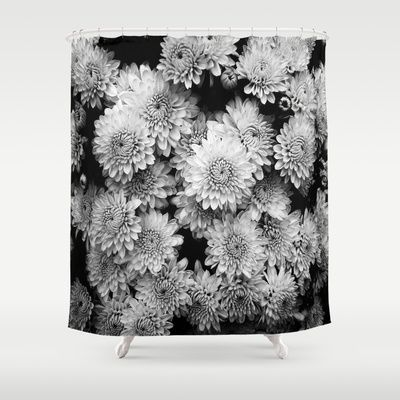 Black and white flowers curtain