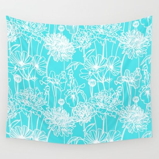 white flowers on turquoise Wall Tapestry