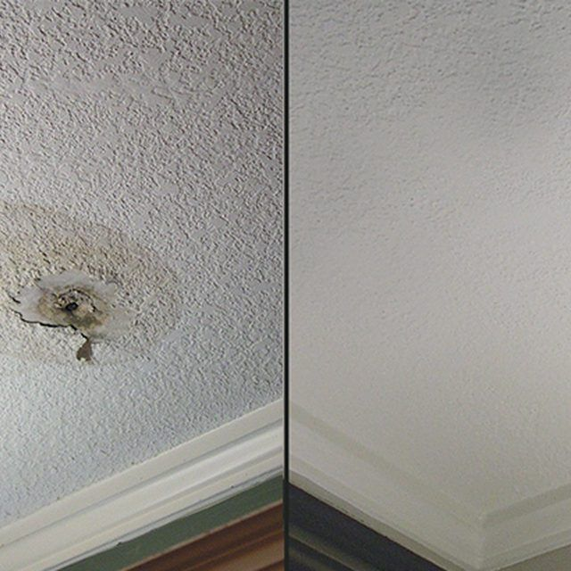How To Patch A Hole In A Textured Ceiling Ceiling Texture Ceiling Leak Popcorn Ceiling