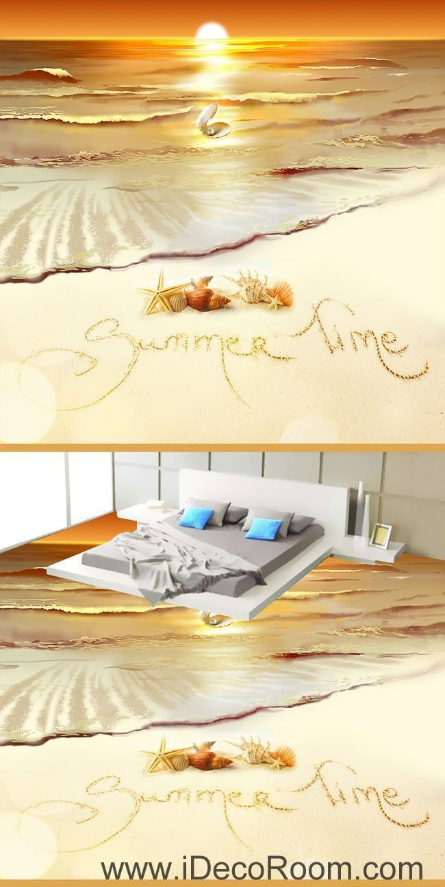 Summer Time Sunset Shell Pearl 00064 Floor Decals 3D Wallpaper ...
