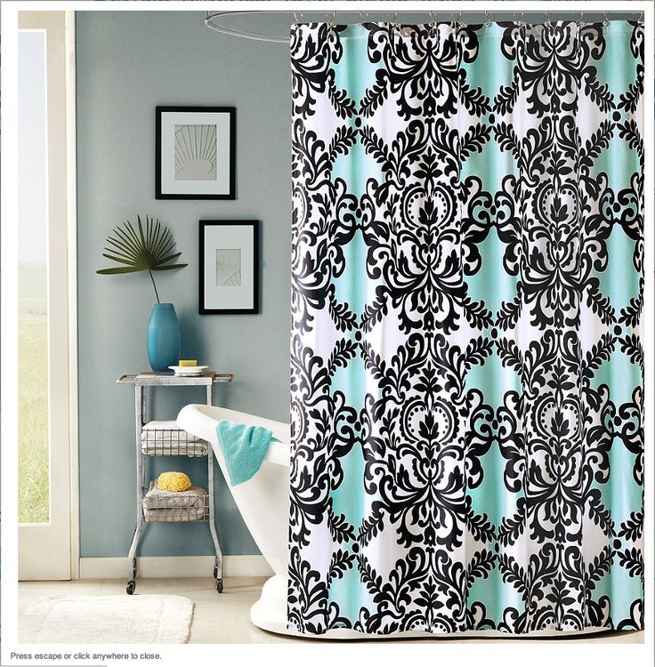 Bathroom Blue Fabric Shower Curtain With Black Colored Classic Motif Round Chrome Rod Ring Clips White Tub Small Side Table Under