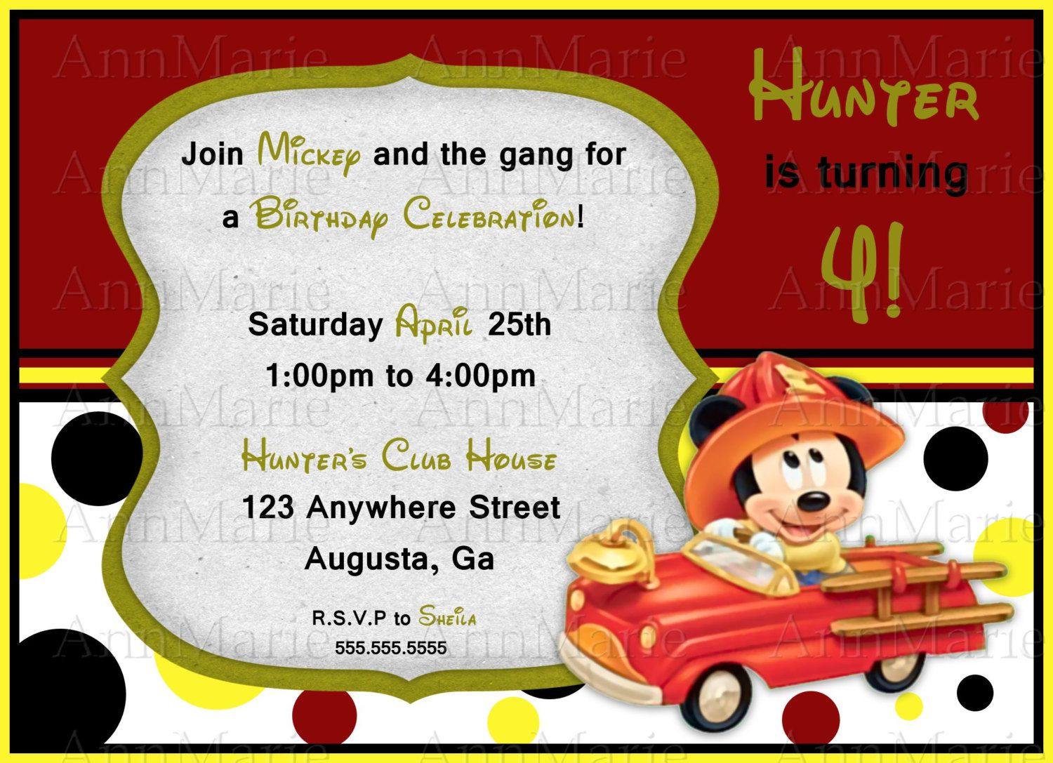 Mickey in a Fire Truck Birthday Invitation, Disney Mickey Party ...
