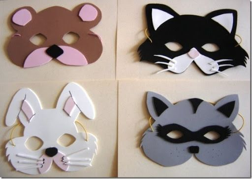 Moldes para máscara de animales en foami - pintar y jugar | moldes ...