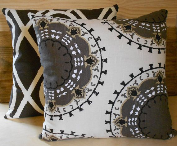 Black Grey And Taupe Medallion Custom Pillows And She Will Send Free Fabric Samples Decorative Pillow Covers Pillows Grey Decor