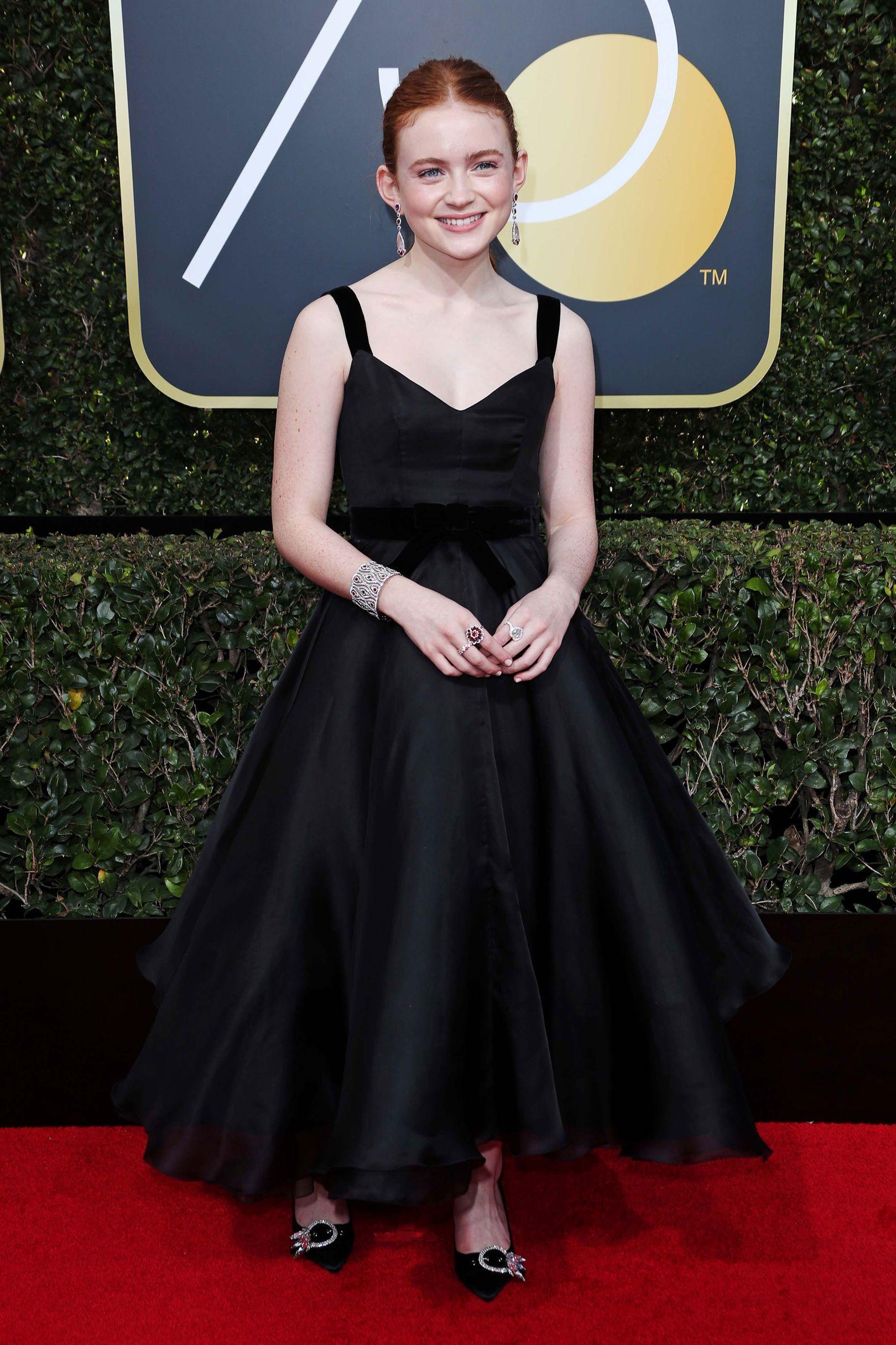 710df597164 Sadie Sink in Miu Miu (2018 Golden Globes)  TimesUp