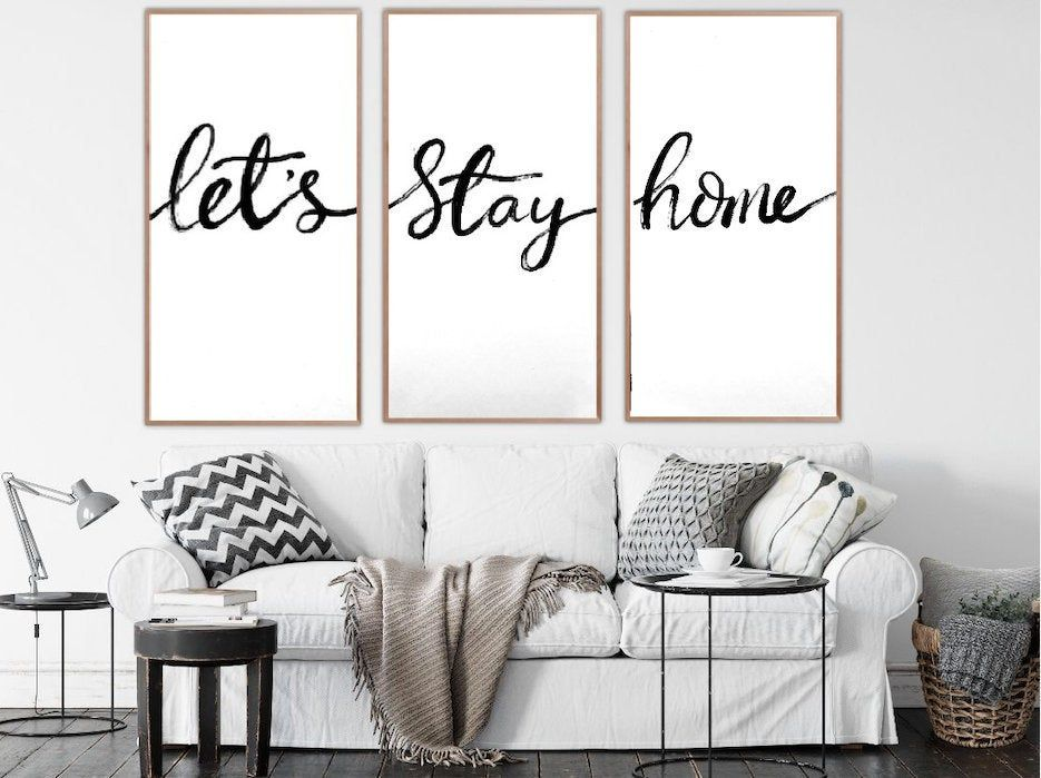Let S Stay Home Framed Wood Sign Farmhouse Wood Sign Living Room Wall Decor Family Room Sign Living Room Sign Wedding Gift For Couple In 2020 Wall Decor Living Room Living Room