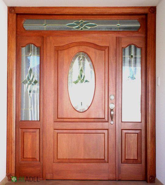 Puerta clasica dise o ovalado cristal con fijos y for Puerta doble madera