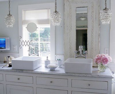 This bathroom from Elle Decor is very romantic. I the unique ... on bathroom mirror designs, small bathroom designs, bathroom set designs, bathroom sinks and countertops, bathroom see designs, closet designs, bathroom sinks drop in oval, bathroom bathroom designs, bathroom fan designs, rustic bathroom designs, acrylic bathroom designs, bathroom fixtures designs, bathroom vanities, bathroom faucets, bathroom shelving designs, bathroom decorating ideas, bathroom light designs, bathroom stool designs, bathroom fall designs, bathroom wood designs,