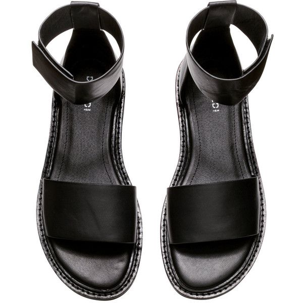 H&M Sandals (51.055 COP) ❤ liked on Polyvore featuring shoes, sandals, black, sapatos, wide shoes, ankle tie sandals, h&m sandals, ankle wrap sandals and black sandals