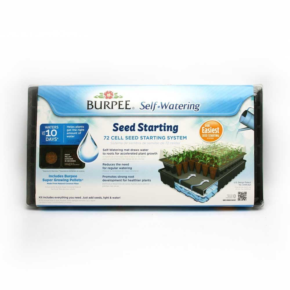 Burpee 72 Cell Self Watering Greenhouse Kit 95072 The Home Depot Greenhouse Kit Self Watering Seed Starting Kits