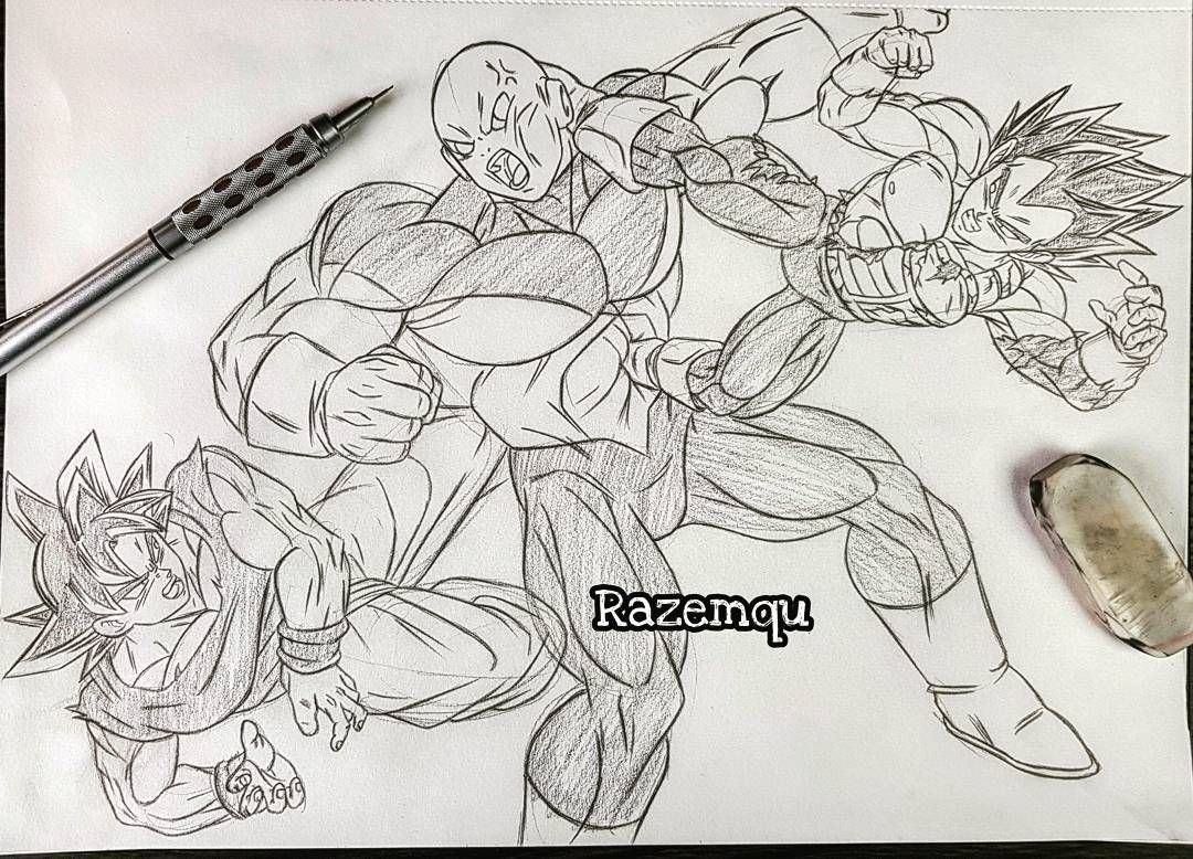 Dibujo De Goku Kakarotto Peleando Contra Vegeta Para: Vegeta And Goku Vs Jiren Sketch