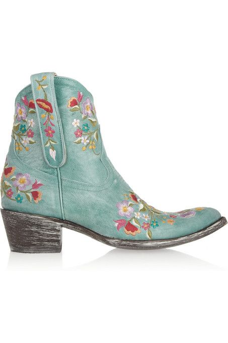 d669d9921be04 Floral embroidered distressed aqua blue leather ankle  boots by Mexicana   tribal  cowboy