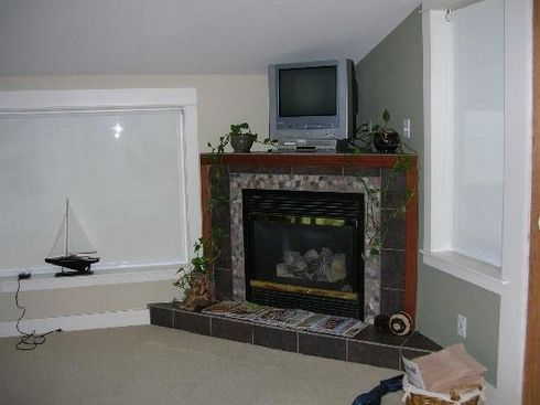 Corner electric fireplace with grey tile - Corner Electric Fireplace With Grey Tile Fireplaces Pinterest