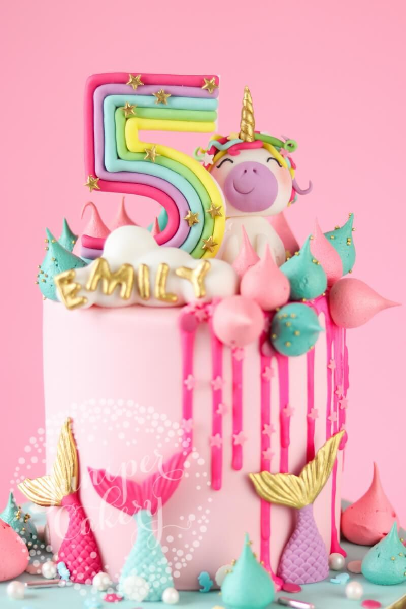 Tremendous Rainbow Unicorn And Mermaid Birthday Cake Con Imagenes Tartas Funny Birthday Cards Online Fluifree Goldxyz