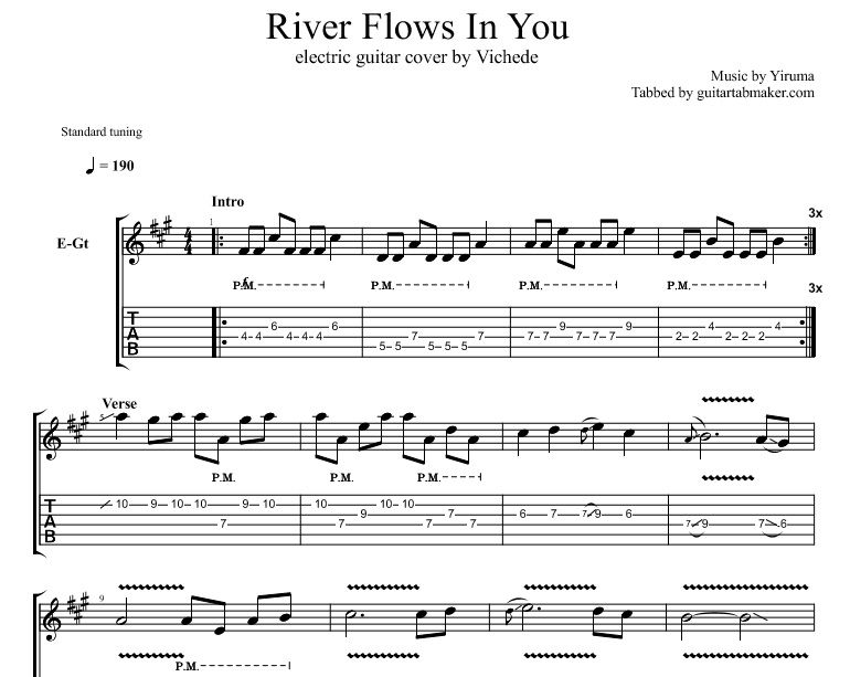 River Flows In You Tab Instrumental Electric Guitar Tab Co Hinh