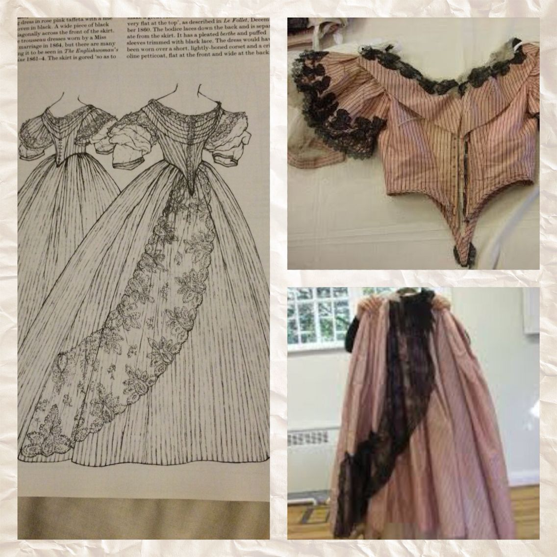 1861-4 Evening dress in rose pink taffeta with fine double stripes woven in black. A wide piece of black lace is draped diagonally across the front of the skirt. Gallery of English costume. Patterns of Fashion 2 page 22
