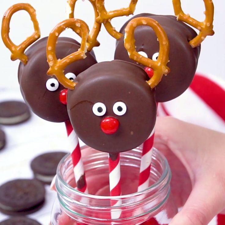 Schokolade bedeckte Oreo-Ren-Plätzchen - urlaub101 #reindeerchristmas