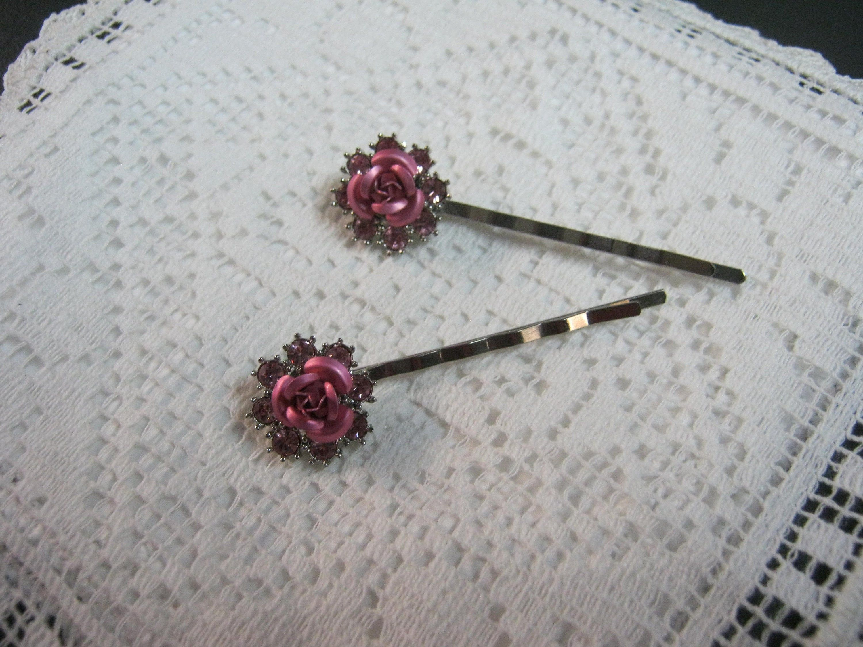 Hair Pin Bobby Pin Pink Roses Pink Rhinestones