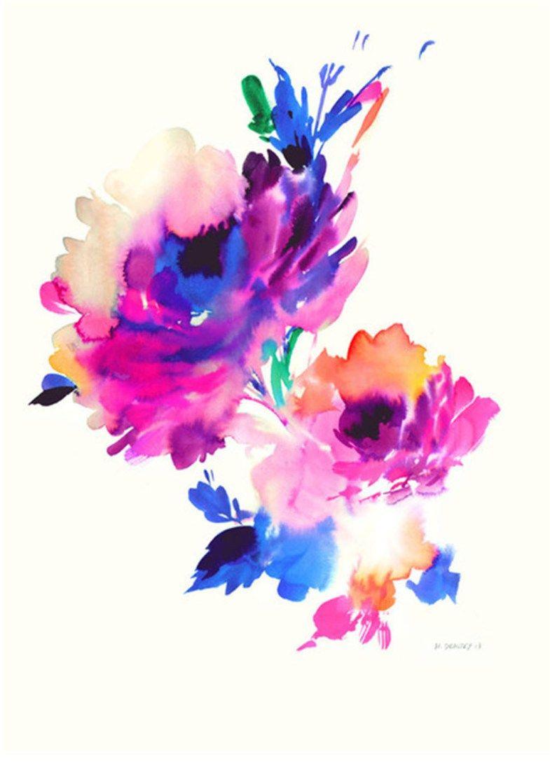 Colour tattoo watercolor flower tattoo hip tattoo water for Watercolor flower images