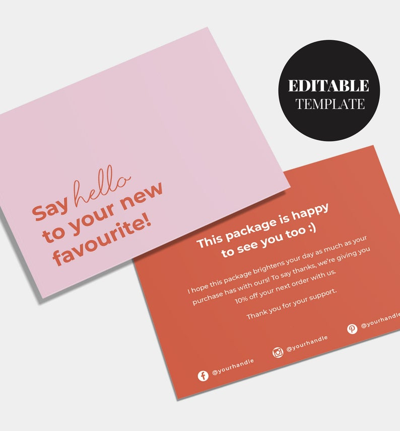 Editable Business Thank You Card Printable Cute Thank You Card Thanks For Your Purchase Small Business Thanks Customer Thank You Business Thank You Cards Thank You Cards Cute Thank You Cards