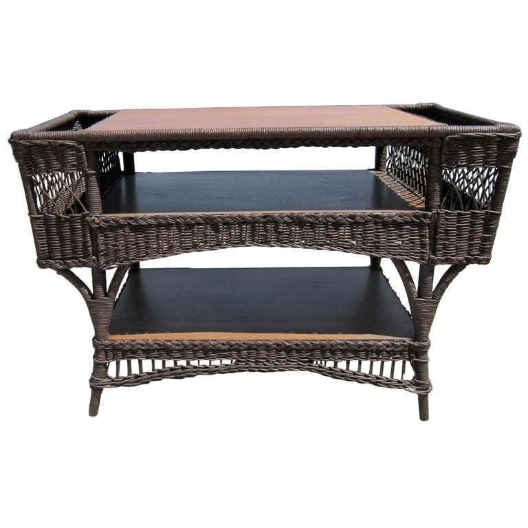 Antique Wicker Library Table Antique Wicker Wicker Library Table