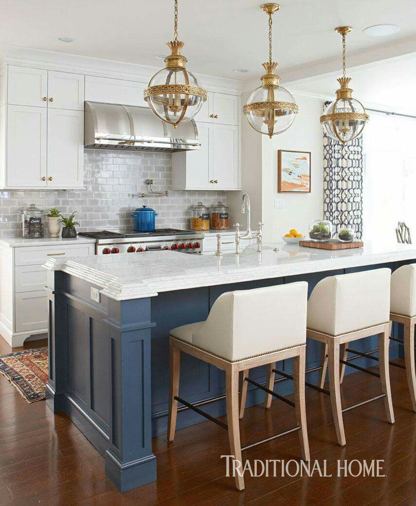 fascinating blue kitchen cabinets | The navy island is interesting | Interior design kitchen ...