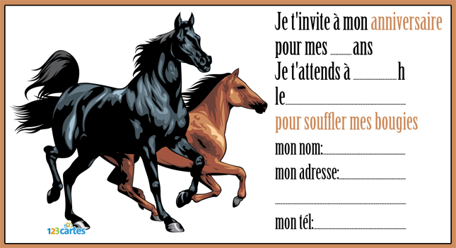 carte anniversaire invitation cheval